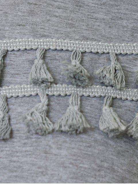 hot Fringed Sweatshirt Dress - GRAY XL Mobile