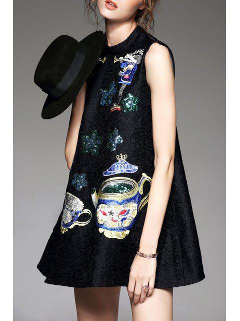 best Sequins Trapeze Dress - BLACK M Mobile