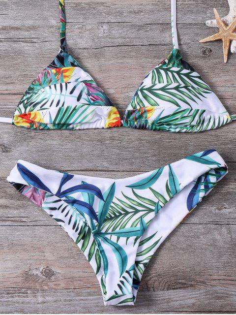 latest Plant Printed Halter Bikini Set - BLACKISH GREEN S Mobile