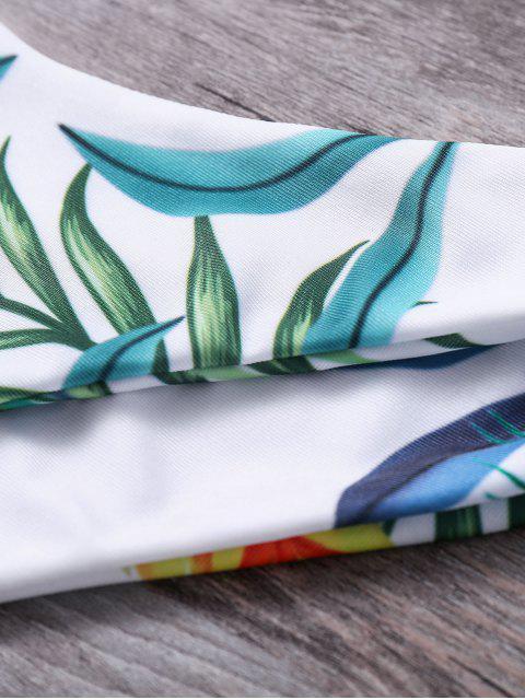 latest Plant Printed Halter Bikini Set - BLACKISH GREEN S Mobile