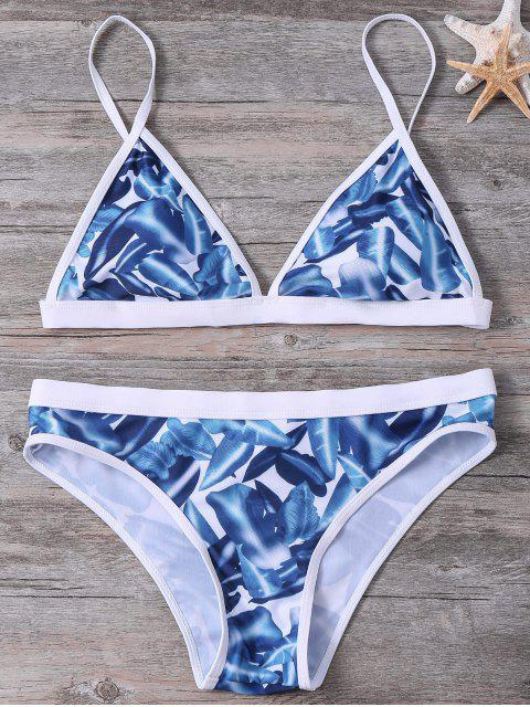 chic High-Cut Leaf Printed Bikini Set - COLORMIX S Mobile