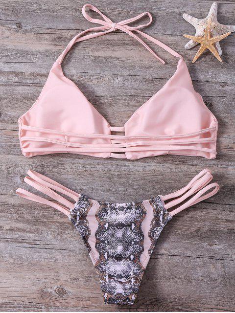 womens Snakeskin Stringy Bikini Set - PINK L Mobile