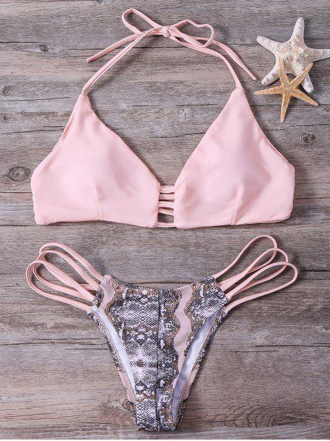 womens Snakeskin Stringy Bikini Set - PINK L Mobile