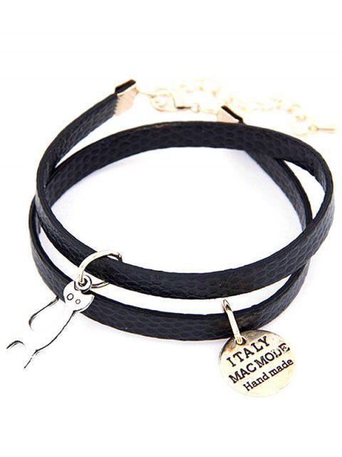 shop Cat Faux Leather Wrap Bracelet - BLACK  Mobile