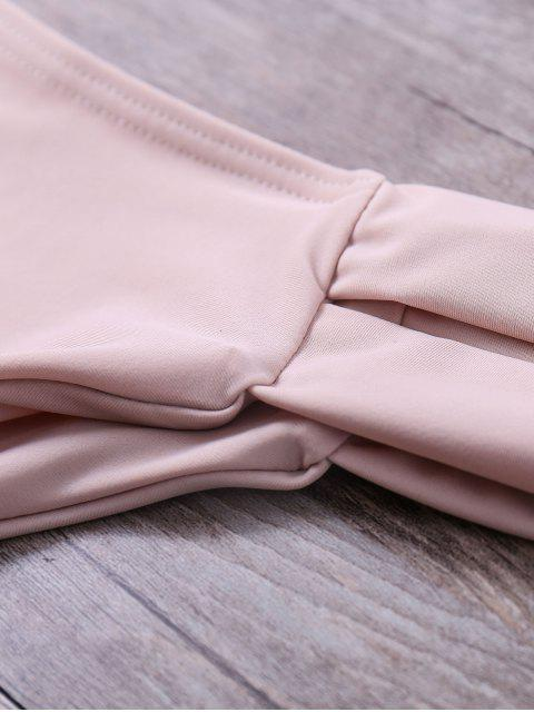 new Lattice Strap Banded Bikini Set - YELLOWISH PINK S Mobile