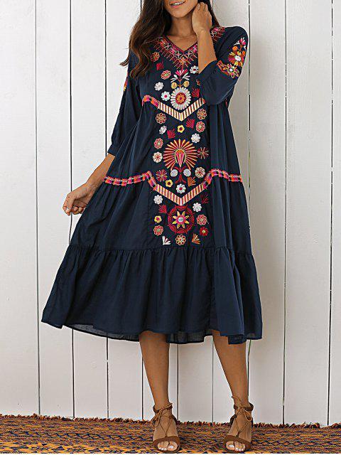 unique Embroidered Tiered Midi Dress - PURPLISH BLUE M Mobile