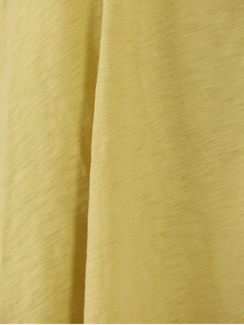 U cou à manches longues T-shirt couleur unie - Jaune M Mobile