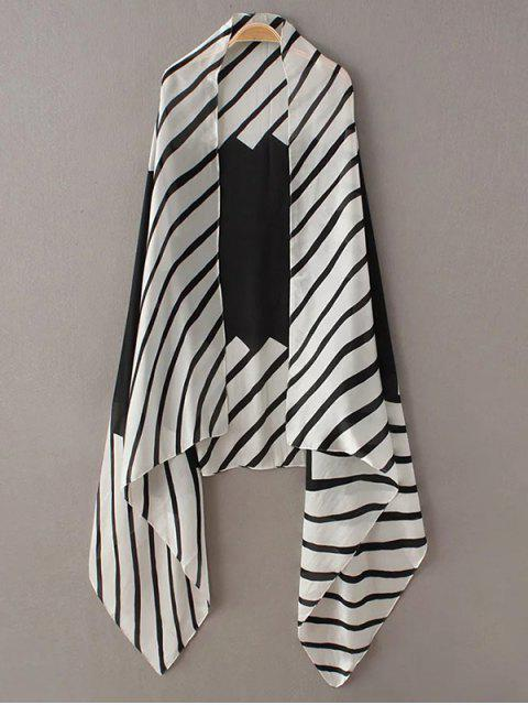 hot Comfortable Stripe Pashmina - WHITE AND BLACK  Mobile