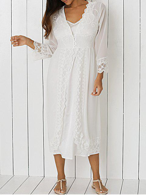 lady Front Slit Sheer Lace Dress - WHITE L Mobile