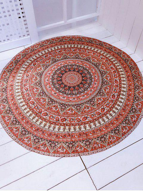 unique Printed Convertible Round Shape Beach Throw - BROWN ONE SIZE Mobile