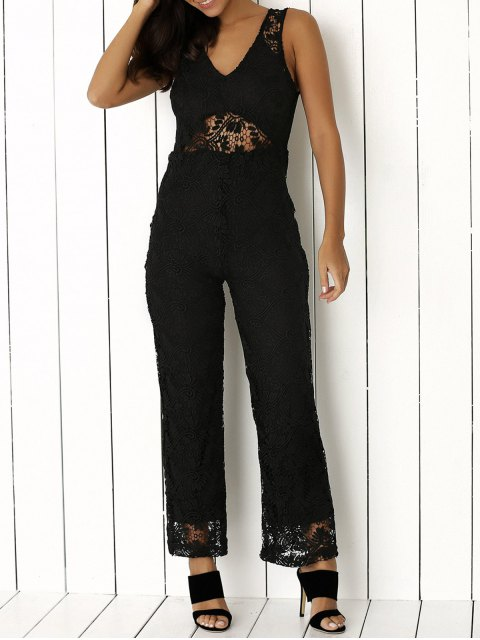 womens Solid Color Plunging Neck Sleeveless Lace Jumpsuit - BLACK L Mobile