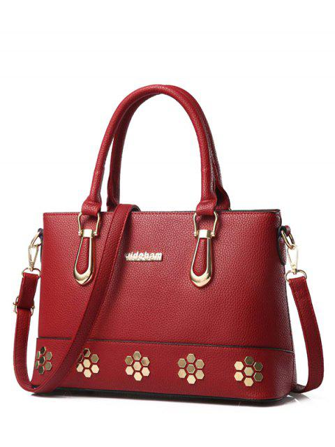 outfit Metal Zipper PU Leather Tote Bag - WINE RED  Mobile