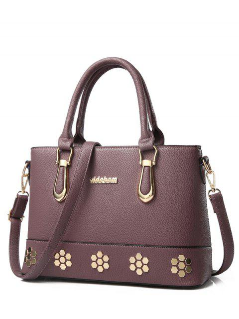 outfits Metal Zipper PU Leather Tote Bag - PURPLISH RED  Mobile