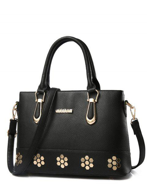 shops Metal Zipper PU Leather Tote Bag - BLACK  Mobile