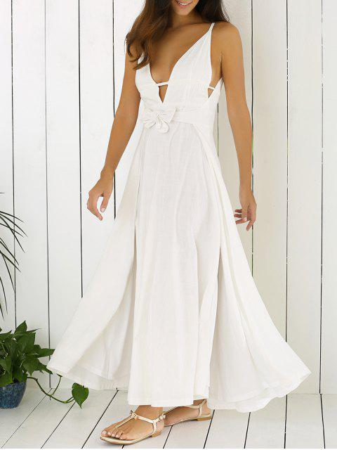 hot White Cami Plunging Neck Maxi Dress - WHITE 2XL Mobile