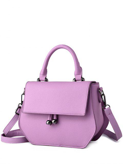 online Zip PU Leather Metal Crossbody Bag - LIGHT PURPLE  Mobile