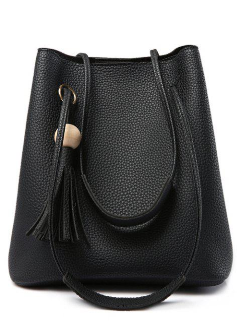 chic Tassels Magnetic Closure Metal Ring Shoulder Bag - BLACK  Mobile