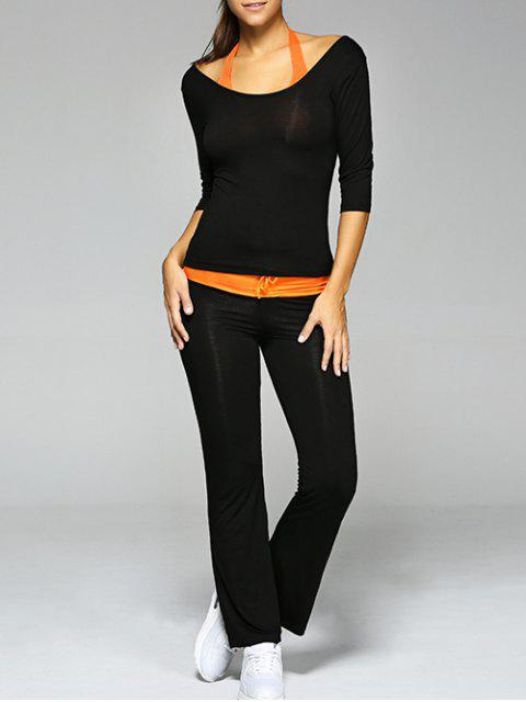 latest Crop Tank Top and T-Shirt and Drawstring Pants Yoga Suit - BLACK 2XL Mobile
