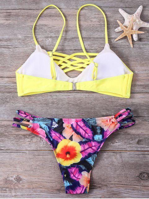 trendy Floral Cami Yellow Bikini Set - COLORMIX S Mobile