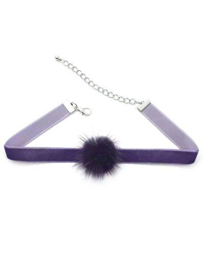 Little Pom Pom Choker Necklace - Deep Purple