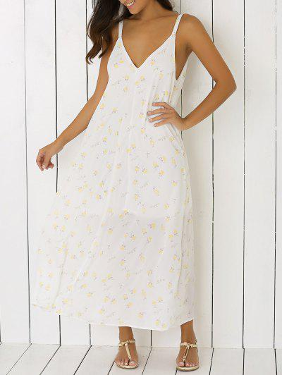 Low Cut Tiny Floral Backless Maxi Dress - White Xl 2dbce9047