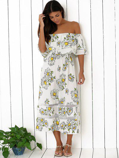211895ca362 ... Floral Off The Shoulder Ruffles Midi Dress - White S
