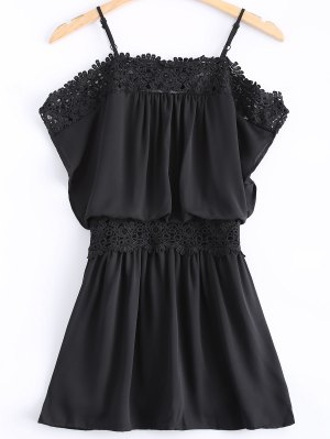 Lace Spliced ​​Cami Cut Out Robe Noire - Noir L