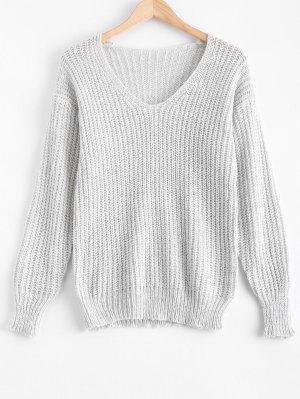 V Neck Oversized Sweater - Gray L