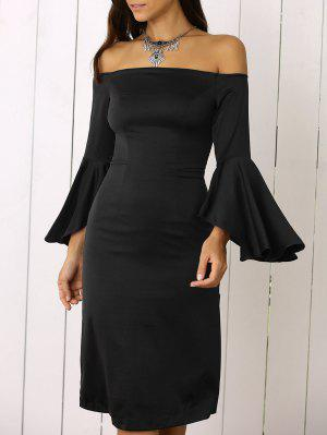 Sleeve Dramatic Off The Shoulder Robe - Noir M