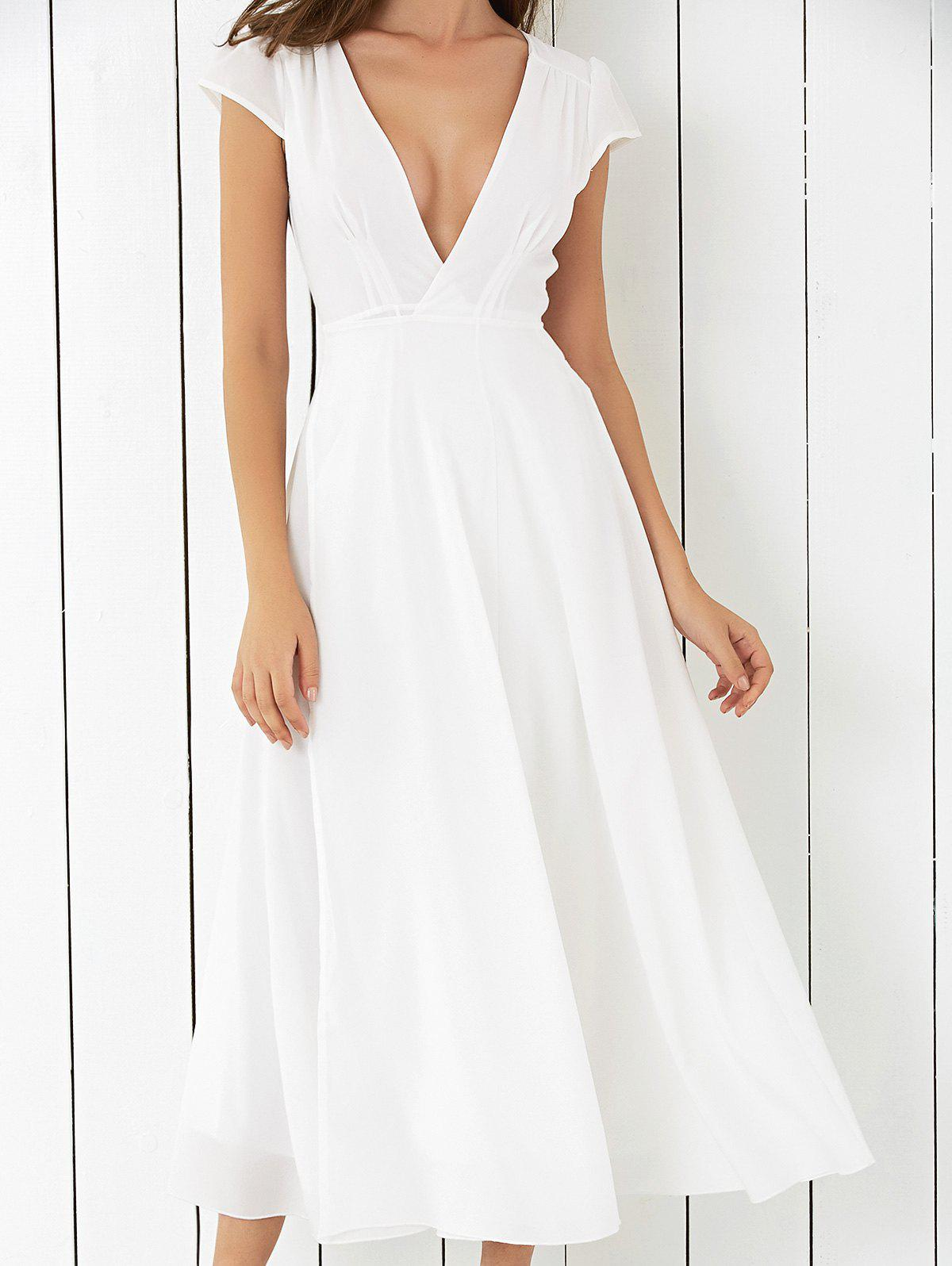Low Cut High Slit Midi Dress