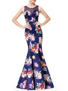 فستان طباعة الأزهار عارية الظهر  - الأزهار Xl