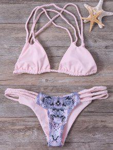 Trenzada Imprimió El Sistema Del Bikini - Rosado Claro M