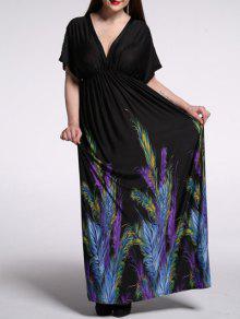 فستان كاب الأكمام طباعة عارية الظهر - أسود 2xl