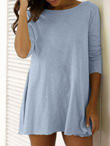 U Neck Long Sleeve Solid Color T-Shirt - Blue Gray M