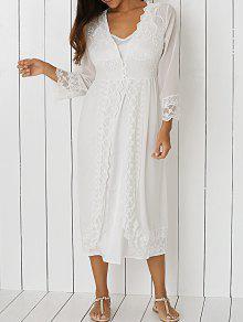 Gran Vestido De Encaje Raja Del Frente - Blanco L