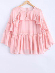 Ladder Crochet Trim Frilly Top - Pink M