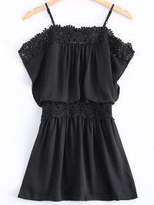 Encaje Cami Empalmado Fotografica Vestido Negro - Negro L