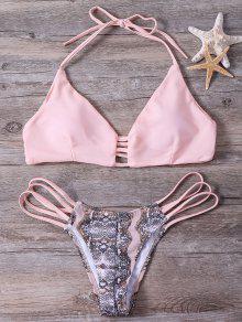 Snakeskin Stringy Bikini Set - Pink L