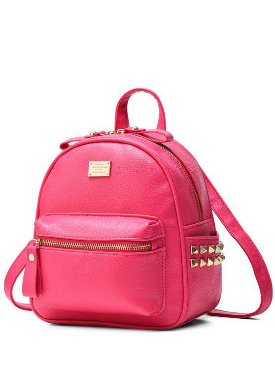 latest Metal Rivets Zippers PU Leather Backpack - ROSE MADDER
