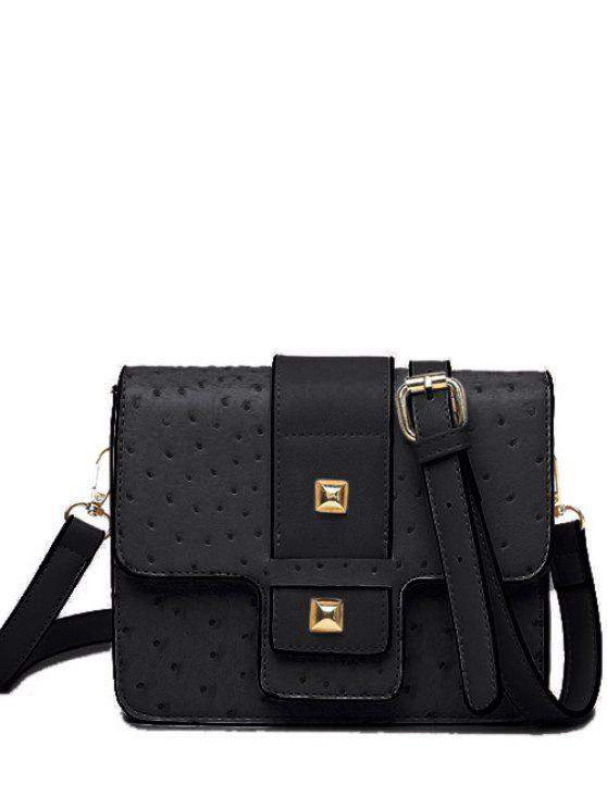 unique Double Rivet Magnetic Closure Embossing Crossbody Bag - BLACK