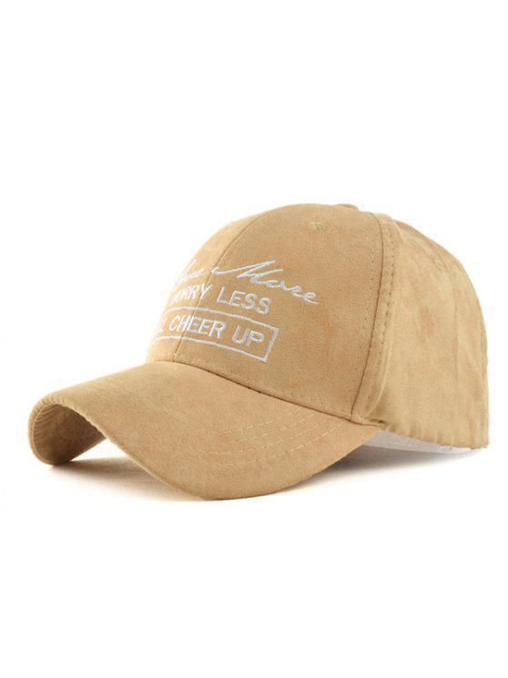 shop Letter Faux Suede Baseball Hat - LIGHT KHAKI