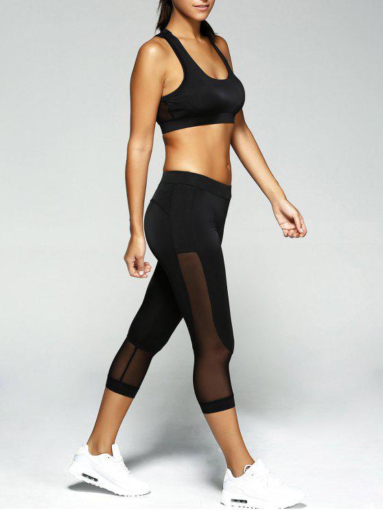 shop Patched Crop Top and Leggings Sport Suit - BLACK M