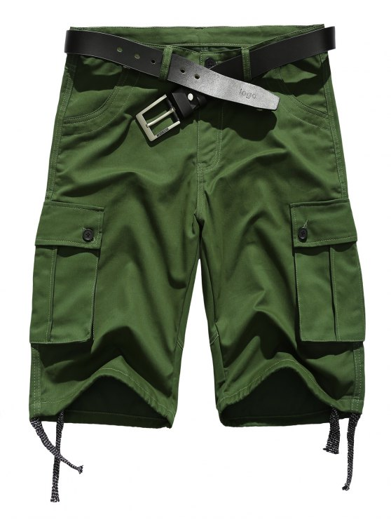 affordable Zipper Fly Straight Leg Pockets Embellished Drawstring Design Shorts - ARMY GREEN S