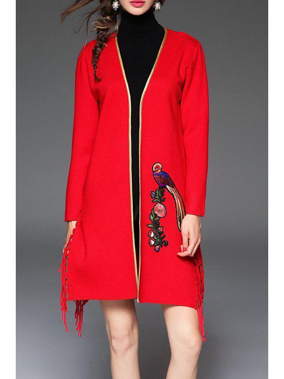 Fringed gestickte Overcoat - Rot M