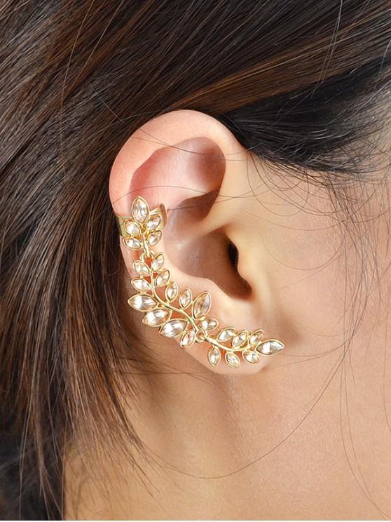 new Crystal Leaf Shape Ear Cuffs - GOLDEN