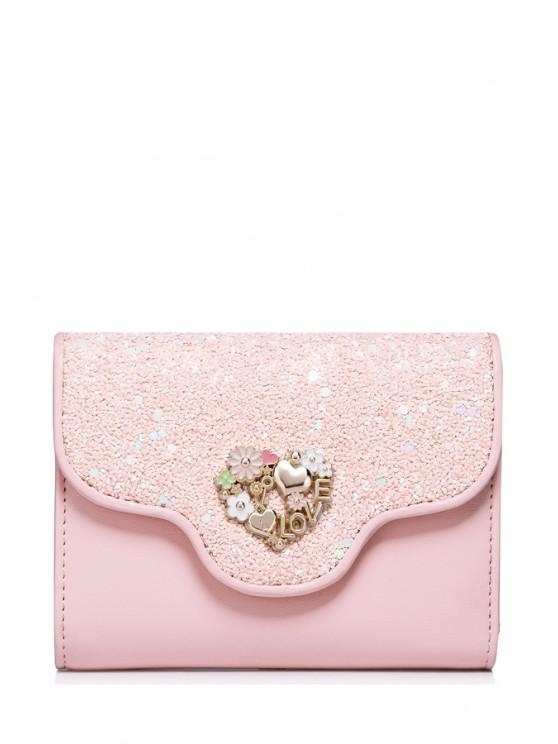 latest Floral Heart Sequins Small Wallet - PINK