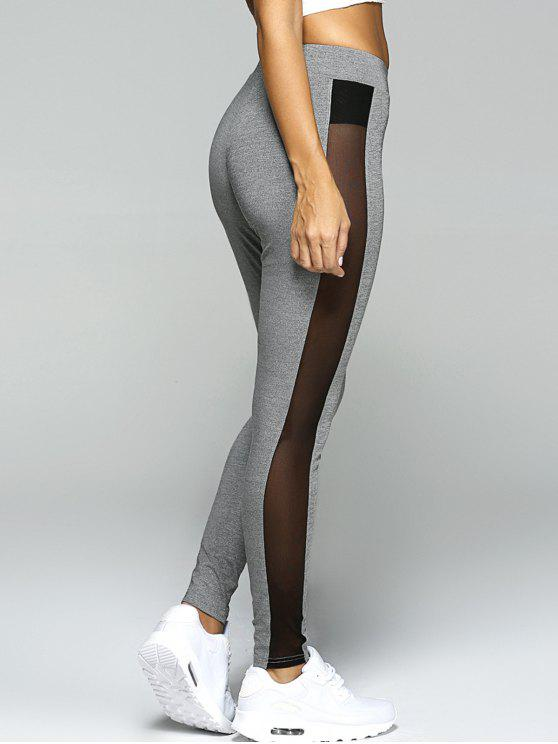 gauze skinny sport leggings gray bottoms s zaful. Black Bedroom Furniture Sets. Home Design Ideas