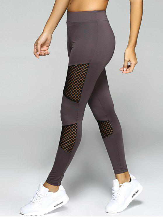 mesh panel sport leggings gray bottoms m zaful. Black Bedroom Furniture Sets. Home Design Ideas