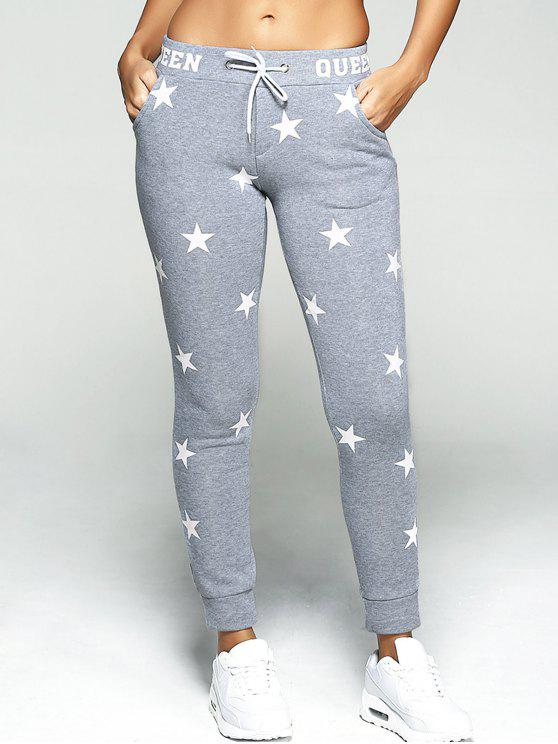 women Star Print Sport Pants - GRAY M