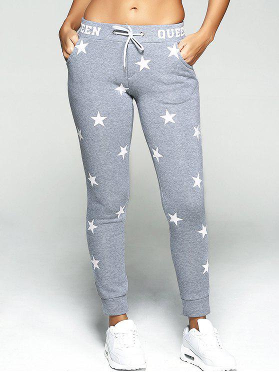 Sport calças estrela impressão - Cinza S